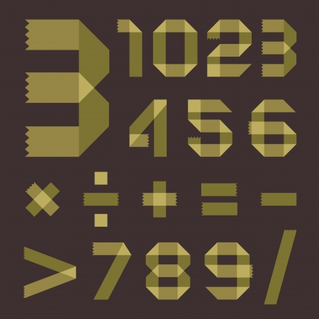 Font from greenish tape - Arabic numerals Vector
