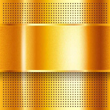 Metallic perforated golden sheet Stock Vector - 18166010