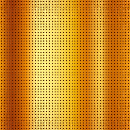 mechanical radiator: Metallic perforated scratched gold sheet Illustration