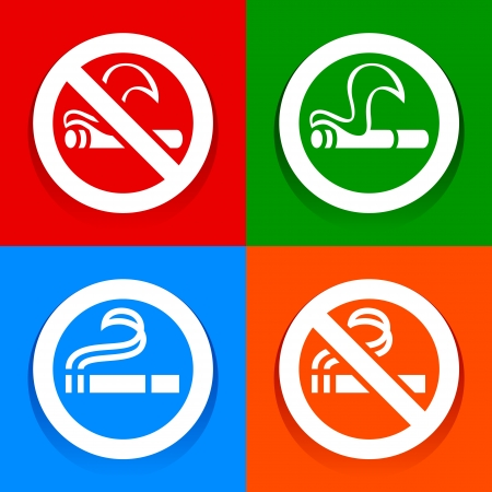 No smoking and Smoking area - Multicolored stickers Stock Vector - 18165994