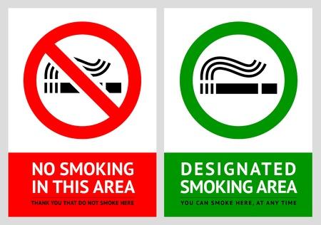 prohibido fumar: No fumar y etiquetas de zona de fumadores - Set 12