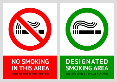 no smoking: No smoking and Smoking area labels - Set 12 Illustration