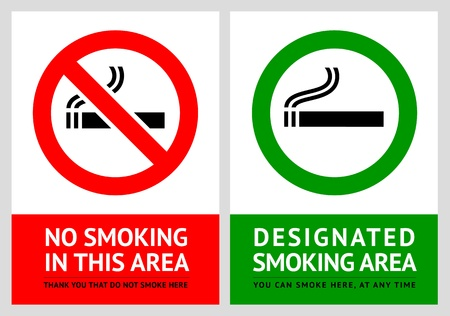 No smoking and Smoking area labels - Set 13 Ilustração