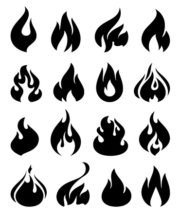 flammable warning: Fire flames, set icons Illustration
