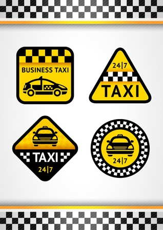 Racing Background vertical and Taxi - set retro stickers Vector