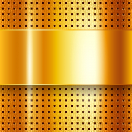 punched metal surface: Scratched, on gold chrome background Illustration