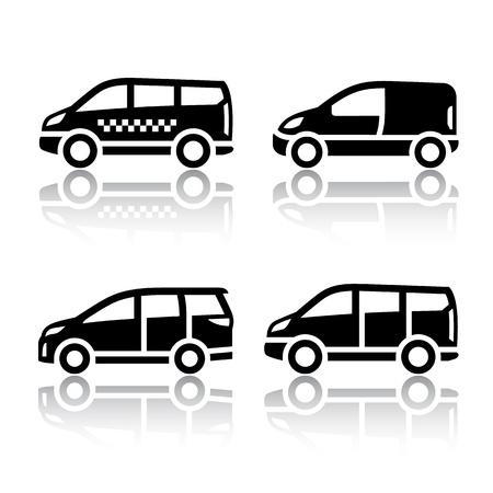 mode of transportation: Set di icone di trasporto - Furgone, Vettoriali