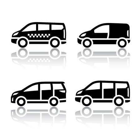 view icon: Set of transport icons - Cargo van, Illustration
