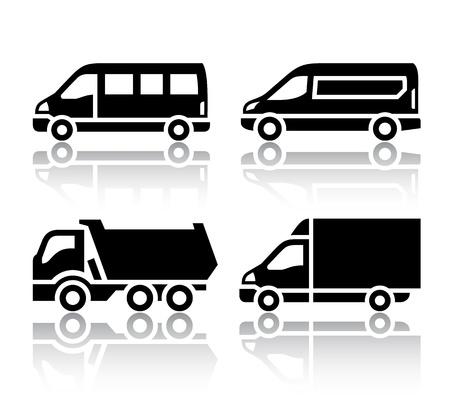 basurero: Conjunto de iconos de transporte - transporte de mercanc�as Vectores