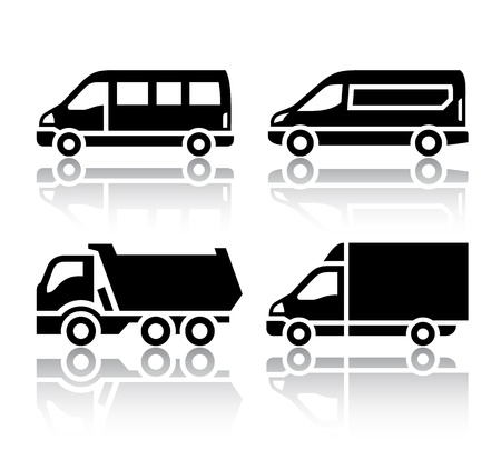 sprinter van: Set of transport icons - freight transport