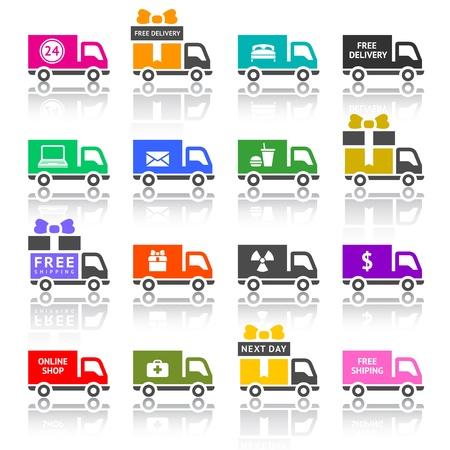 delivering: Conjunto de iconos de colores de camiones