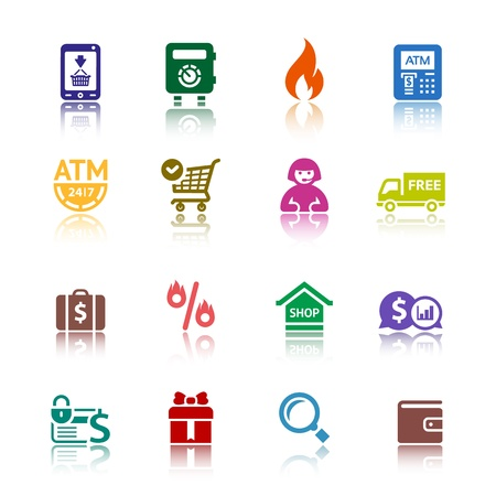 Set shopping colour icons Stock Vector - 18177302