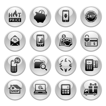Shopping Icons, Gray round buttons new Vector