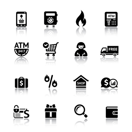 cash dispense: Set shopping icons