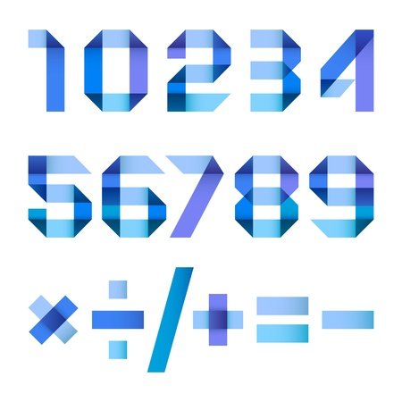 arabic numerals: Spectral letters folded of paper blue ribbon - Arabic numerals Illustration