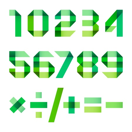 pied: Spectral letters folded of paper green ribbon - Arabic numerals Illustration