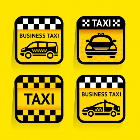 fare: Taxi - set stickers square on the yellow background