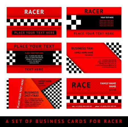Business card driver race - third set Illustration