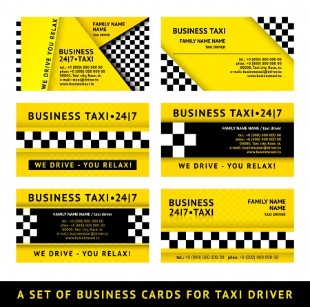 chequered ribbon: Business card taxi - tenth set
