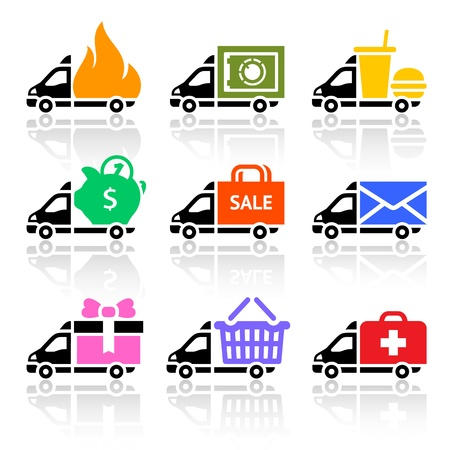 Delivery truck colored icons Vector