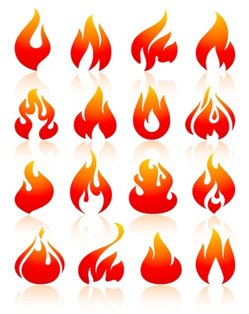 Fire flames redish, set icons Stock Vector - 18548759