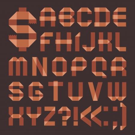 Font from brownish tape -  Roman alphabet Vector