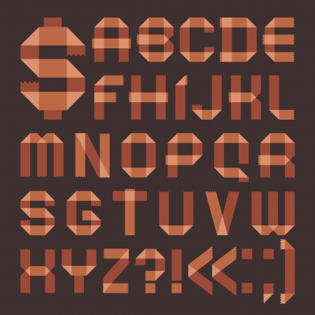 brownish: Font from brownish tape -  Roman alphabet