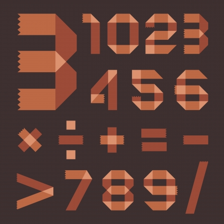 Font from brownish scotch tape - Arabic numerals Vector