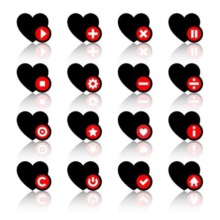 interface menu tool: Icons set - cuori neri e pulsanti rossi Vettoriali