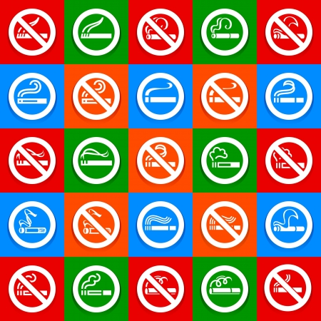 No smoking and smoking area - Big set stickers Vector