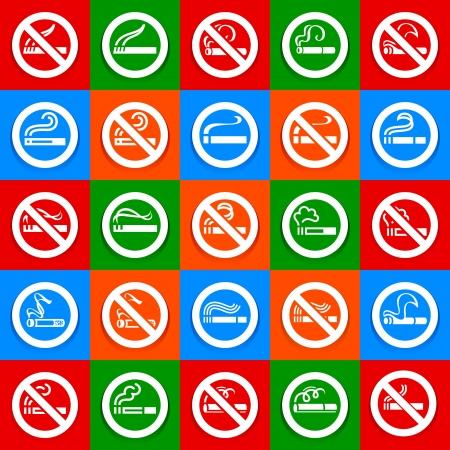 No smoking and smoking area - Big set stickers Stock Vector - 18548974