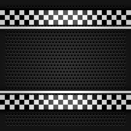 chequered ribbon: Metallic perforated sheet gray Illustration
