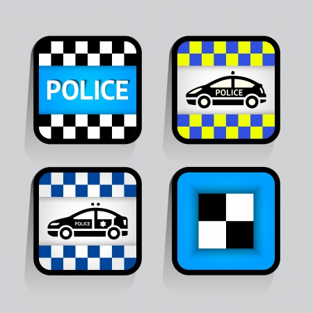 Police - set stickers square on the gray background Vector