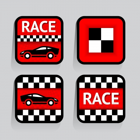 Race - set stickers square on the gray background Stock Vector - 18548768