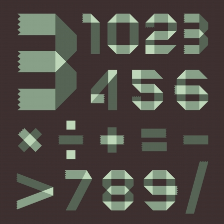 spindrift: Font from spindrift scotch tape - Arabic numerals Illustration