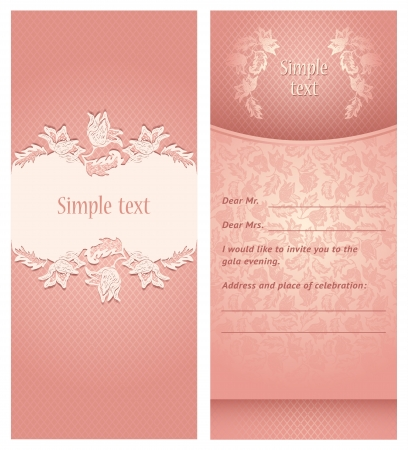 Wedding invitation, flowers ornament Vector