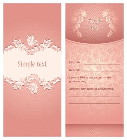 vintage menu: Wedding invitation, flowers ornament Illustration