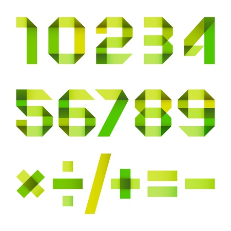 arabic numerals: Spectral letters folded of paper ribbon - Arabic numerals