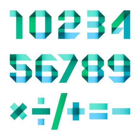 arabische letters: Spectrale brieven gevouwen papier - Arabische cijfers Stock Illustratie