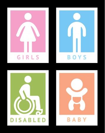 Toilet gekleurde stickers Stock Illustratie