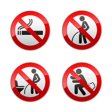 Set prohibited signs - Toilet stickers 일러스트