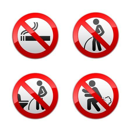 Stel verboden tekens - toilet stickers