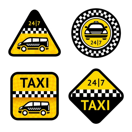 Taxi - set four labels Vector