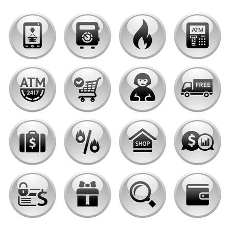 atm card: Iconos de compras, botones grises nuevos Vectores