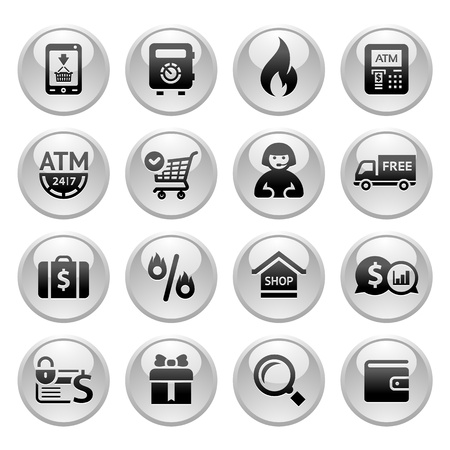Shopping Icons, Gray buttons new Illustration