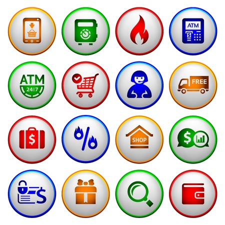 cash dispense: Shopping Icons  Colorful round buttons