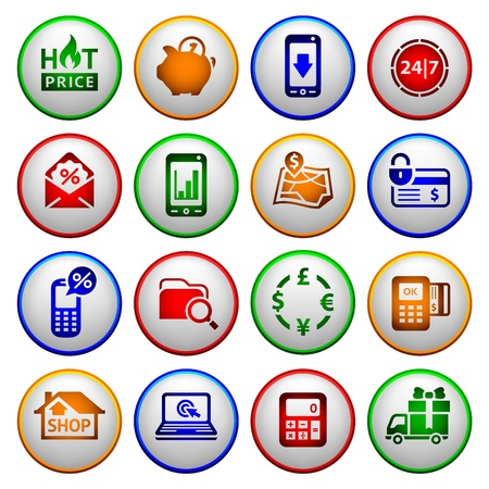 Shopping Icons  Colored round buttons Vector