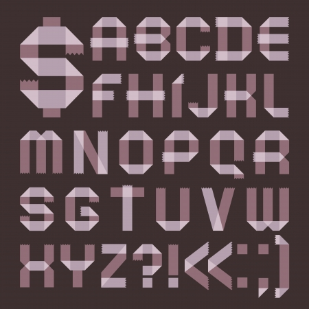 Font from lilac scotch tape -  Roman alphabet Vector