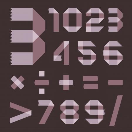 scotch tape: Font from lilac scotch tape - Arabic numerals
