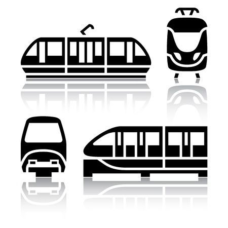 high speed railway: Set of transport icons - Monorail and Tram